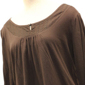 Brown Long Sleeve Scoop Neck Everyday Shirt XXL